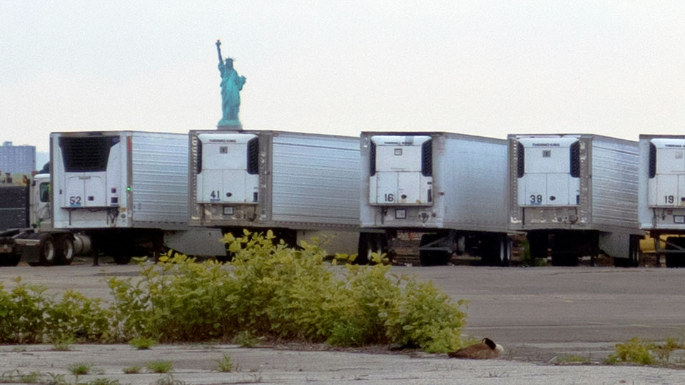Statue of Liberty is visible above refrigerator trucks intended for storing corpses