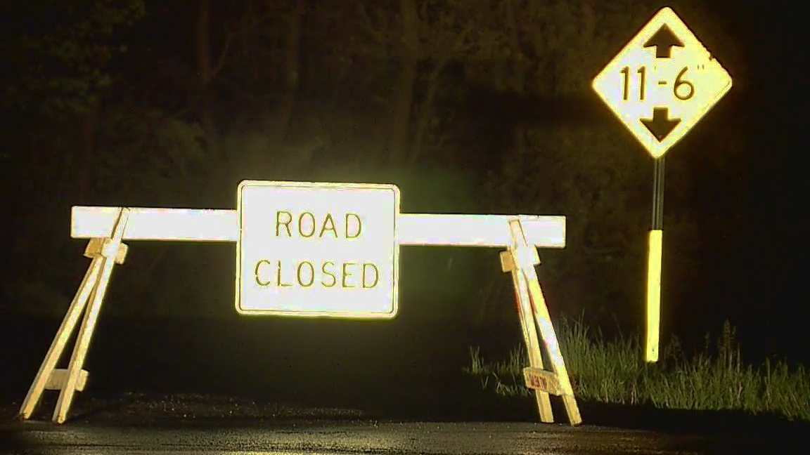 Road closed due to high water in Salem Township