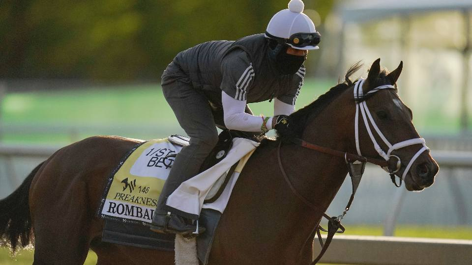 Preakness entrant Rombauer works out during a training session ahead of the Preakness Stakes horse race at Pimlico Race Course, Wednesday, May 12, 2021, in Baltimore.