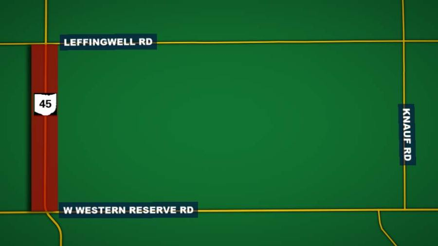 Route 45, Road closed between Leffingwell and Western Reserve Roads