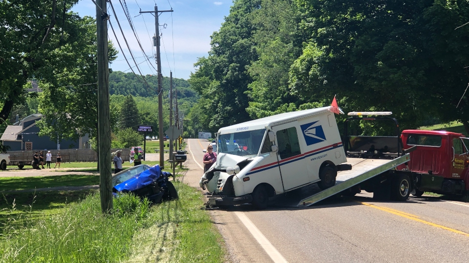 Mail truck crash on Salem-Unity Road