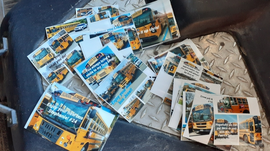 """More than 60 cards were ready as a surprise for Boardman bus drivers Monday at 6 AM. You can read some of the messages, like """"you always bring a smile to my face!"""""""