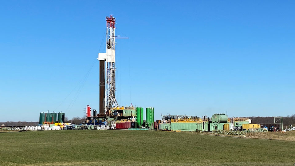 A shale gas well drilling rig in eastern Columbiana County.