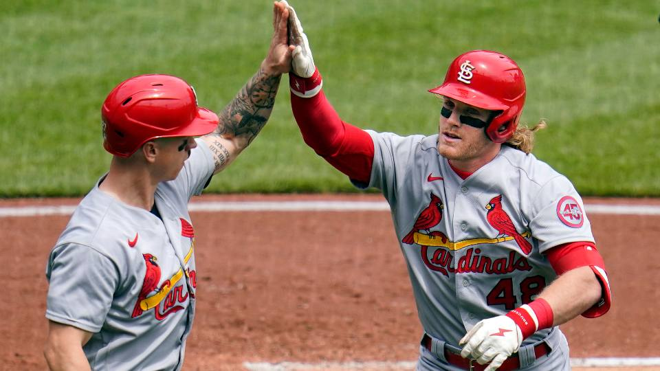 St. Louis Cardinals' Harrison Bader (48) celebrates with Tyler O'Neill as he returns to the dugout after hitting a three-run home run off Pittsburgh Pirates starting pitcher Wil Crowe during the second inning of a baseball game in Pittsburgh, Sunday, May 2, 2021.
