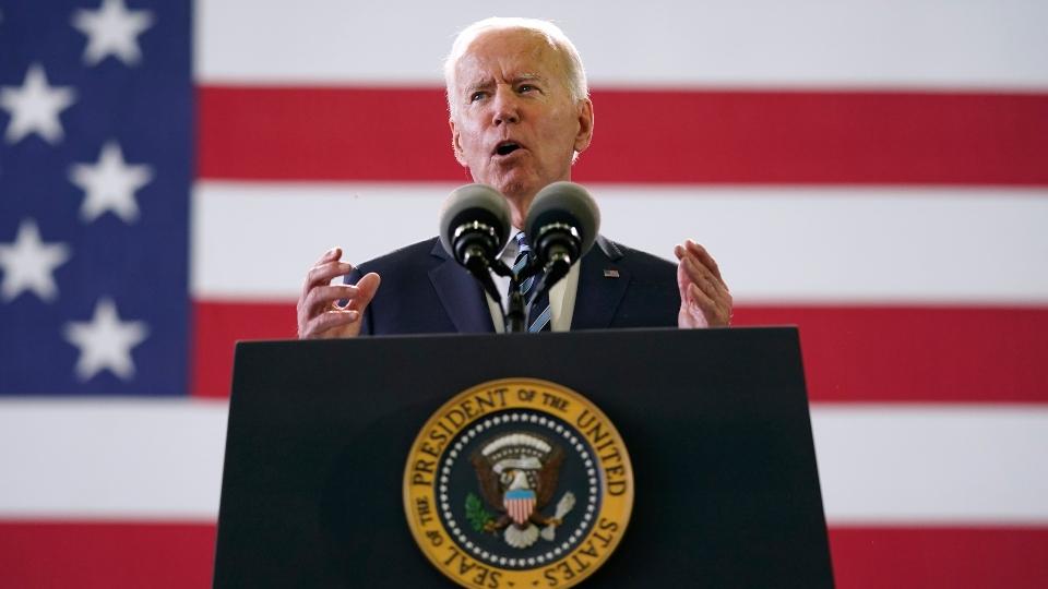 In this Wednesday, June 9, 2021, file photo, President Joe Biden speaks to American service members at RAF Mildenhall in Suffolk, England.