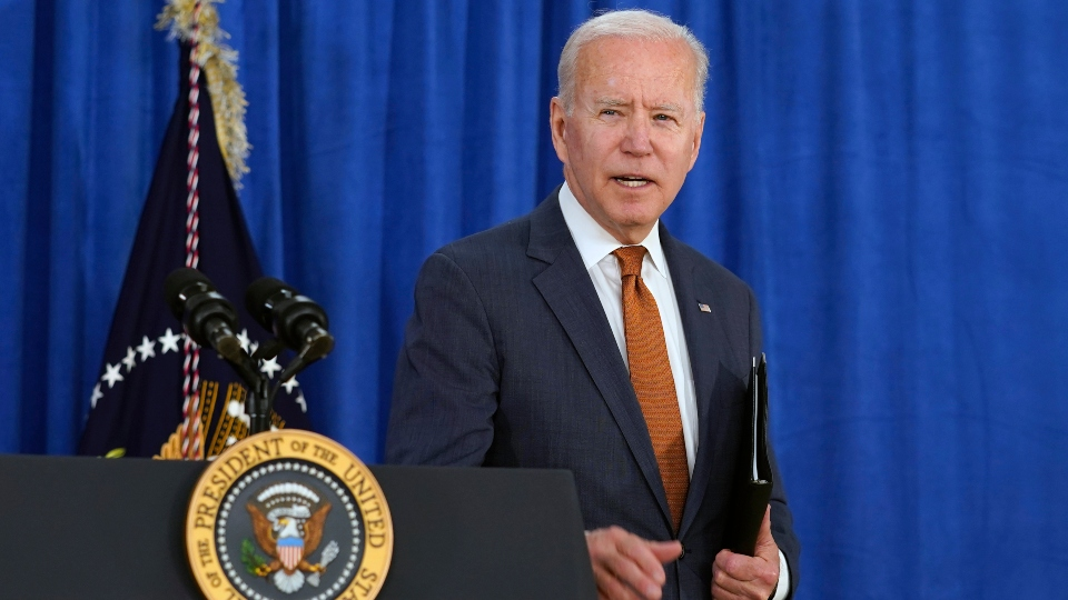 President Joe Biden walks away after talking about the May jobs report from the Rehoboth Beach Convention Center in Rehoboth Beach, Del., Friday, June 4, 2021.