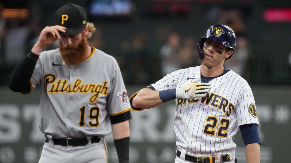 Milwaukee Brewers' Christian Yelich reacts after hitting a three-run scoring double during the fourth inning of a baseball game against the Pittsburgh Pirates Saturday, June 12, 2021, in Milwaukee. (AP Photo/Morry Gash)