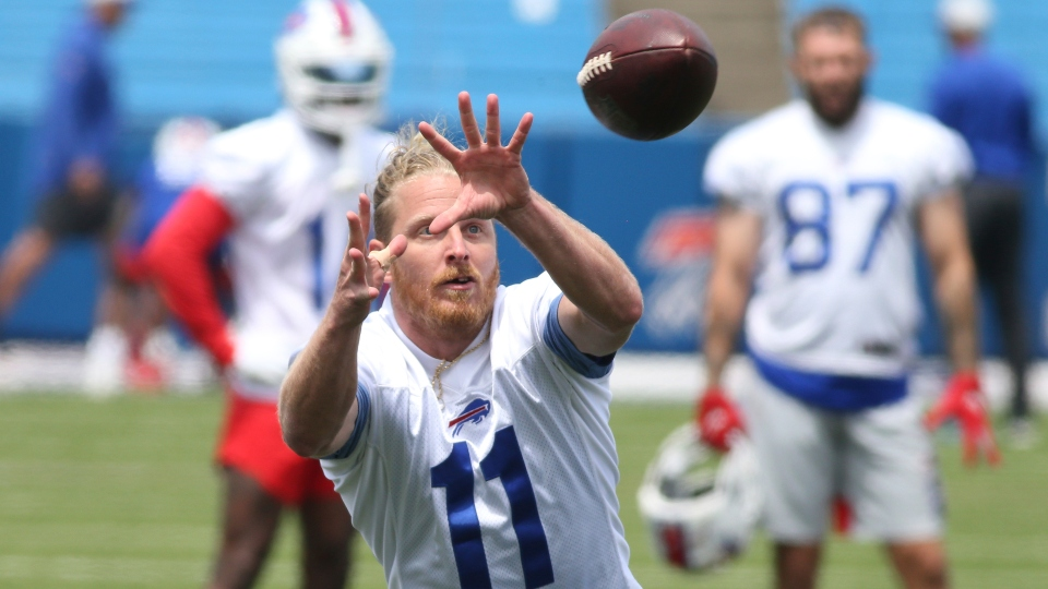 Buffalo Bills wide receiver Cole Beasley (11) makes a catch during NFL football practice in Orchard Park, N.Y., Wednesday, June 2, 2021.