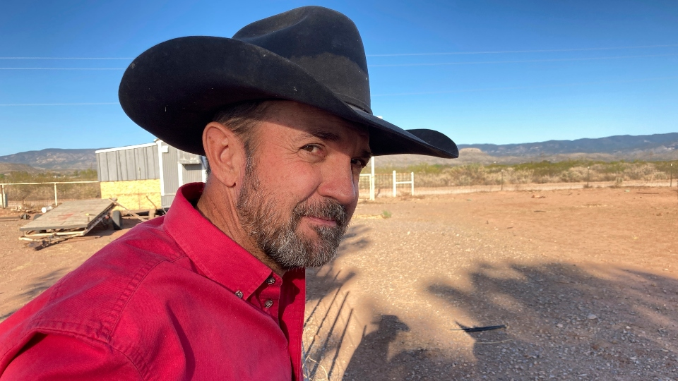 Otero County Commissioner Couy Griffin, the founder of Cowboys for Trump, takes in the view from his ranch in Tularosa, N.M., on Wednesday, May 12, 2021.