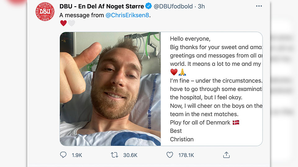 """A combo image issued by the DBU on Tuesday June 15, 2021 of Denmark soccer player Christian Eriksen gesturing from his hospital bed and the message that he sent to accompany the photo. Eriksen sent his first public message from the hospital on Tuesday thanking supporters for their """"sweet and amazing"""" well-wishes after his collapse at the European Championship. Eriksen remains in the hospital after suffering cardiac arrest during Denmark's game against Finland on Saturday."""