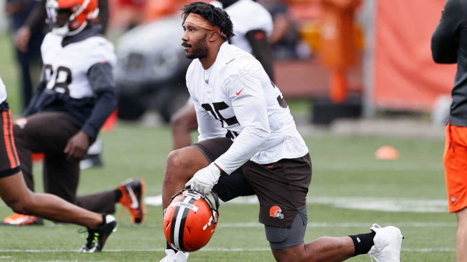 Cleveland Browns defensive end Myles Garrett (95) warms up during an NFL football practice at the team's training facility Wednesday, June 2, 2021, in Berea, Ohio.