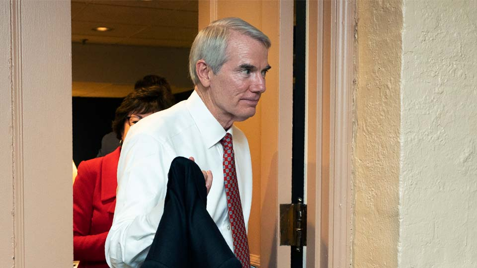 Sen. Rob Portman, R-Ohio, leaves a closed-door bipartisan infrastructure meeting with a group of senators and White House aides on Capitol Hill in Washington, Tuesday, June 22, 2021. (AP Photo/Manuel Balce Ceneta)