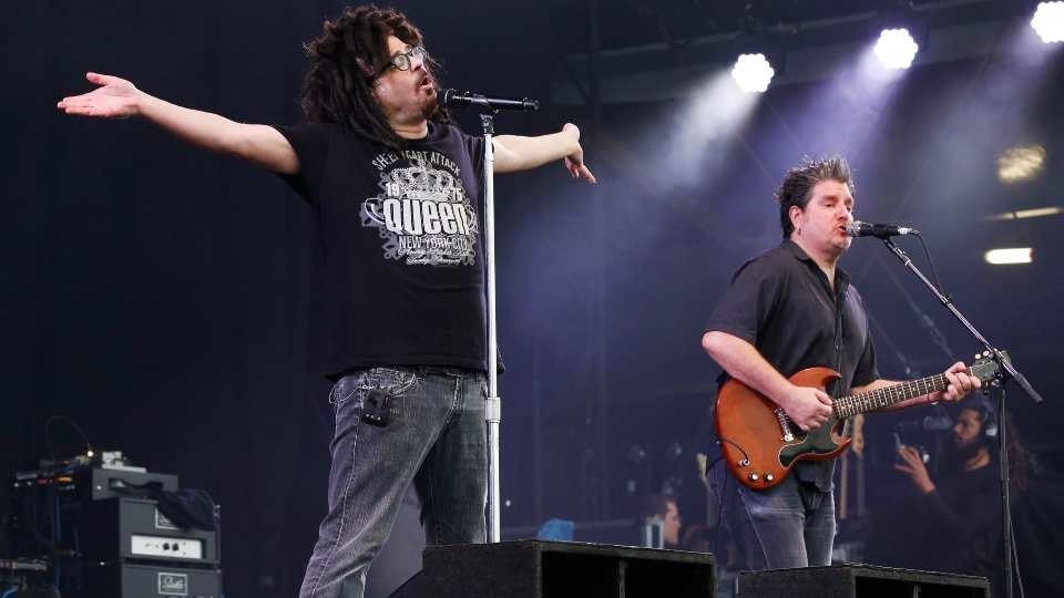 Adam Duritz and David Immergluck of the band the Counting Crows perform at the Isle of Wight Festival on Friday, June 12, 2015 in Newport, Isle of Wight, England.