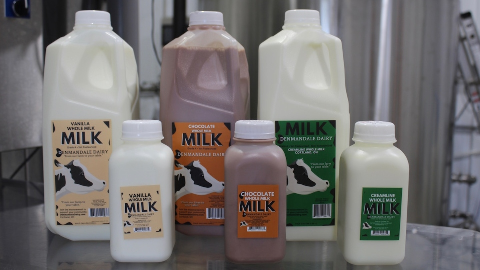 Denmandale Dairy started by making three types of milk in half gallons and pints. Their plan is to expand into more flavored milks in the future.