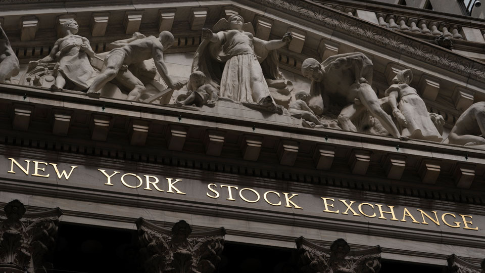 The front of the New York Stock Exchange is shown, Monday, May 24, 2021