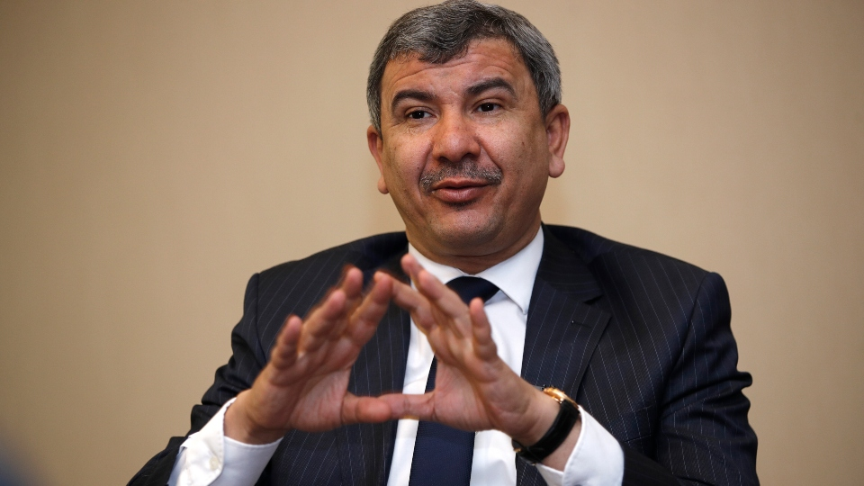 Ihsan Abdul-Jabbar Ismail, Iraq Oil minister speaks during an interview with The Associated Press in Baghdad, Iraq, Friday, June 11, 2021.