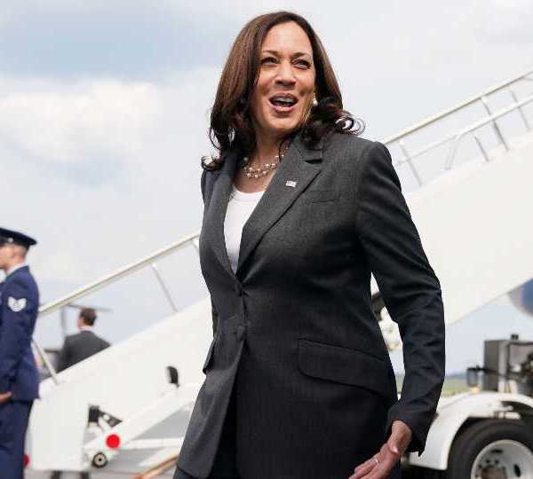 Vice President Kamala Harris speaks to members of the media before boarding Air Force Two, Friday, June 18, 2021, to depart Atlanta and return to Washington.
