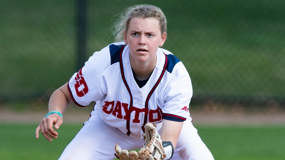 Megan Ward (13) of the Dayton Flyers during an NCAA softball game against the Miami Redhawks on Wednesday, March 24, 2021 in Dayton, Ohio. (AP Photo/Emilee Chinn)