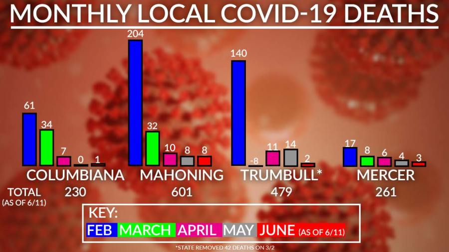 Monthly Local Covid-19 Deaths Chart, June 11