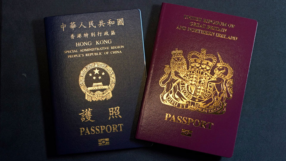 British National Overseas passports (BNO) and a Hong Kong Special Administrative Region of the People's Republic of China passport
