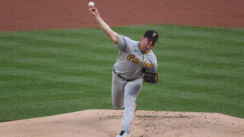 Pittsburgh Pirates starting pitcher Wil Crowe throws during the first inning of a baseball game against the St. Louis Cardinals, Friday, June 25, 2021, in St. Louis.