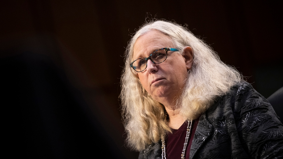 In this Feb. 25, 2021, file photo, Rachel Levine, nominated to be an assistant secretary at the Department of Health and Human Services, testifies before the Senate Health, Education, Labor, and Pensions committee on Capitol Hill in Washington.