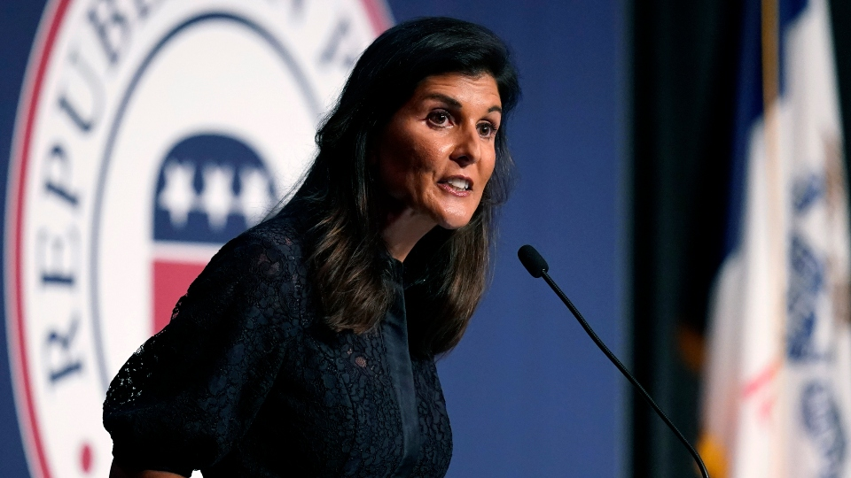 Former Ambassador to the United Nations Nikki Haley speaks during the Iowa Republican Party's Lincoln Dinner, Thursday, June 24, 2021, in West Des Moines, Iowa.