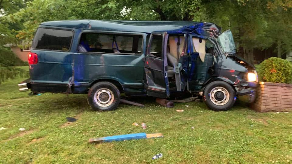 One person was hurt after a van crashed in Southington Tuesday.