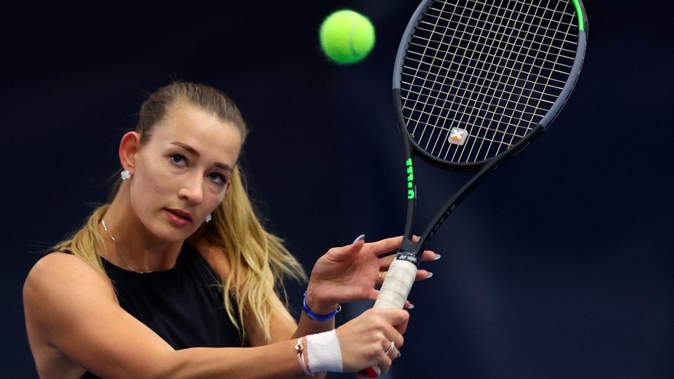 Russian Yana Sizikova poses for a photo during the Winter Moscow Open 2021 tennis tournament in Moscow, Russia, Wednesday, Feb. 24, 2021.