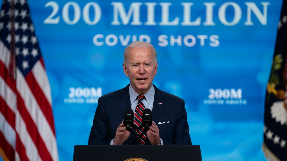 In this April 21, 2021, file photo, President Joe Biden speaks about COVID-19 vaccinations at the White House, in Washington.