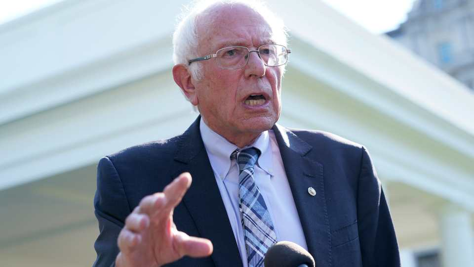 Sen. Bernie Sanders, I-Vt., talks to reporters outside the West Wing of the White House in Washington, Monday, July 12, 2021, following his meeting with President Joe Biden.