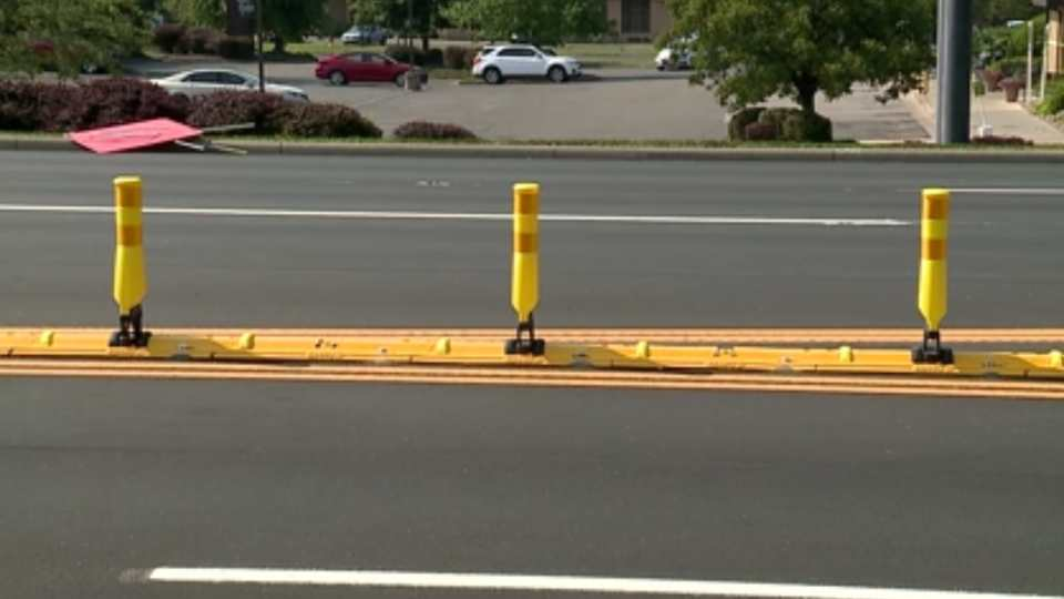 A recent paving project along 224 added new yellow safety barriers to divide east and westbound traffic.
