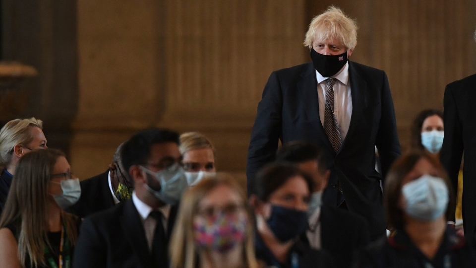 Britain's Prime Minister Boris Johnson arrives at St Paul's Cathedral, London. Monday July 5, 2021, ahead of the NHS service of commemoration and thanksgiving to mark the 73rd birthday of the NHS. (Stefan Rousseau/Pool via AP)