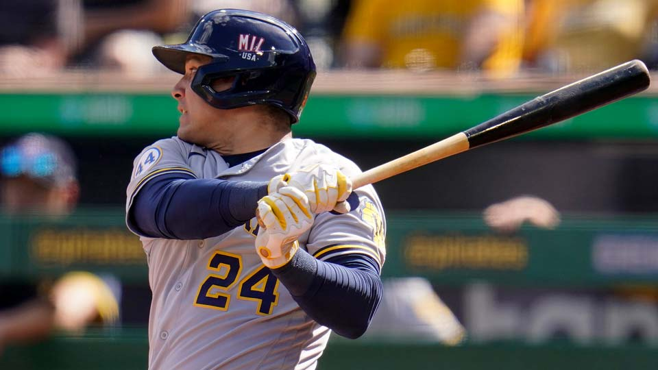 Milwaukee Brewers' Avisail Garcia watches an RBI single off Pittsburgh Pirates starting pitcher Cody Ponce during the second inning of a baseball game in Pittsburgh, Saturday, July 3, 2021. (AP Photo/Gene J. Puskar)
