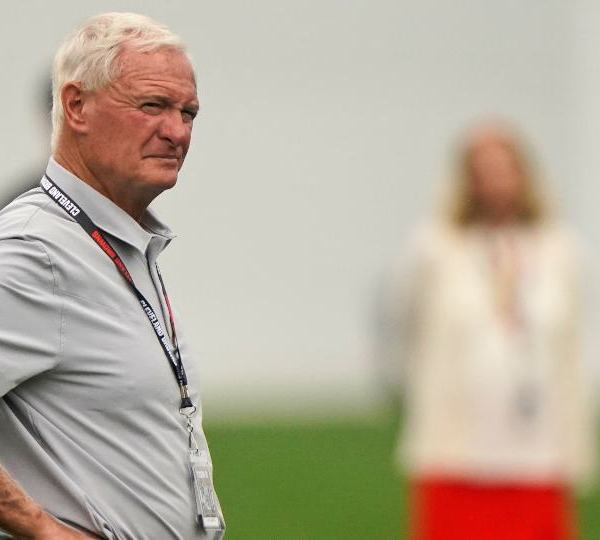 Cleveland Browns owner Jimmy Haslam watches during an NFL football practice, Thursday, July 29, 2021, in Berea, Ohio. (AP Photo/Tony Dejak)