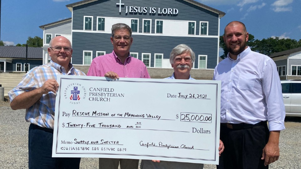 Canfield Presbyterian Church donates to Rescue Mission of Mahoning Valley