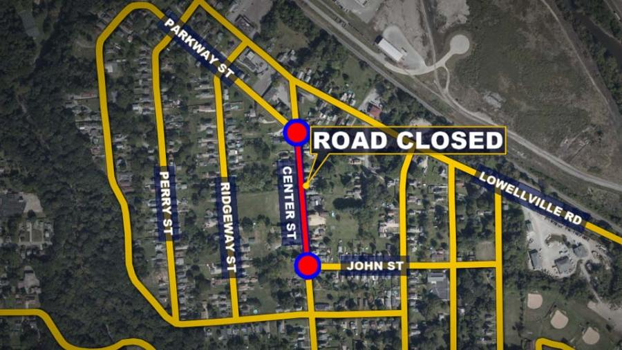 Center Street, Struthers, Road Closed, Water Main Break