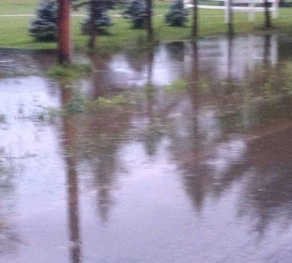Cortland flooded road