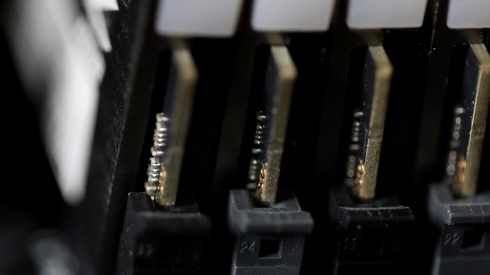 This Feb 23, 2019, file photo shows the inside of a computer in Jersey City, N.J.