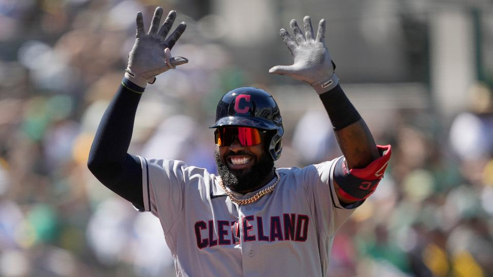 Cleveland Indians' Franmil Reyes celebrates after hitting a home run against the Oakland Athletics during the eighth inning of a baseball game Saturday, July 17, 2021, in Oakland, Calif. (AP Photo/Tony Avelar)
