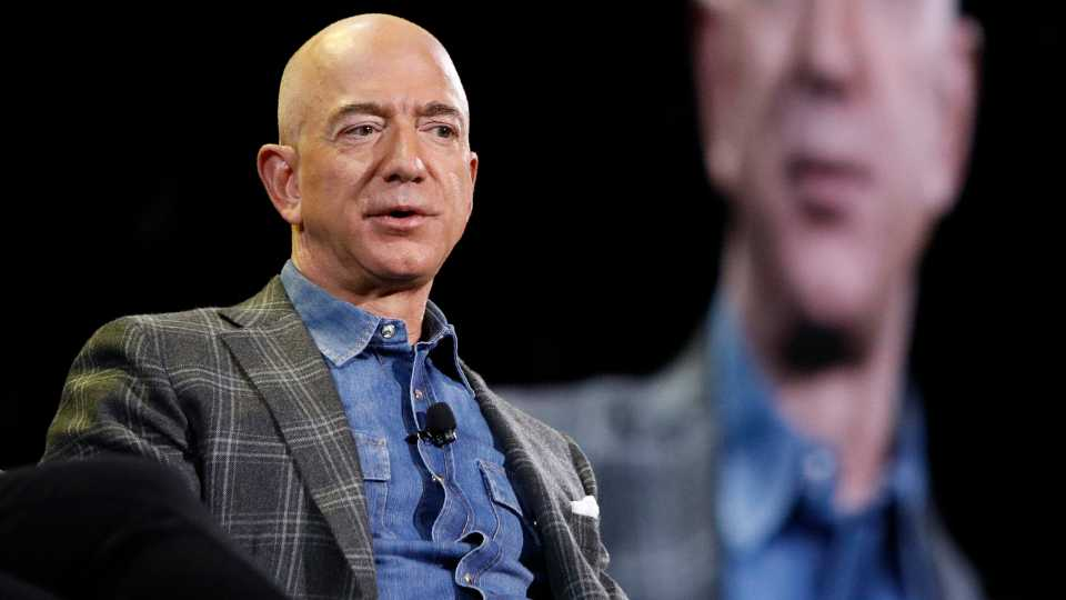 In this June 6, 2019, file photo Amazon CEO Jeff Bezos speaks at the the Amazon re:MARS convention in Las Vegas. The Amazon founder officially stepped down as CEO on Monday, July 5, 2021, handing over the reins as the company navigates the challenges of a world fighting to emerge from the coronavirus pandemic. Andy Jassy, the head of Amazon's cloud-computing business, replaced Bezos, a change the company had announced in February.