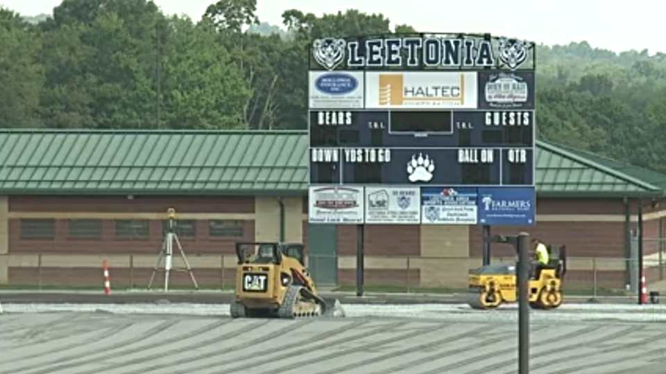 Leetonia football field turf, first game won't be played at home due to delays.