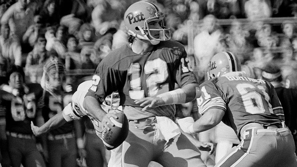 Matt Cavanaugh, shown as he quarterbacks the University of Pittsburgh football team