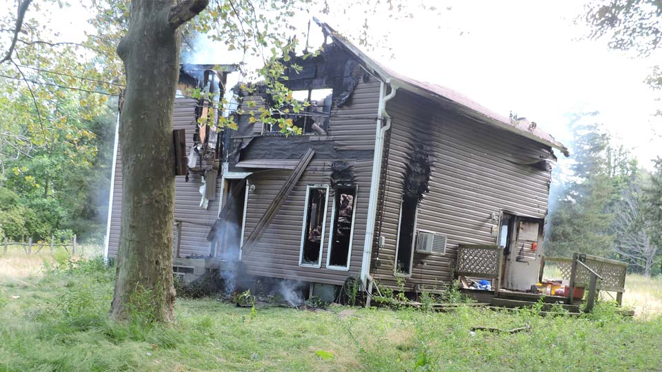 The scene of an intentionally set fire at 7200 Harmon Street in North Kingsville (Ashtabula County). Investigators are looking for information on the arson