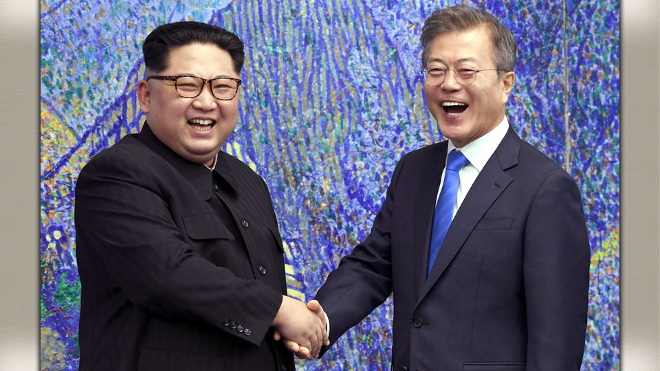 North Korean Leader Kim Jong Un with South Korean President Moon Jae-in