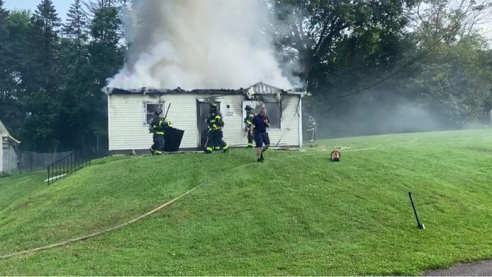 Firefighters are battling a fire at a vacant Oak Lane Avenue home Tuesday morning.