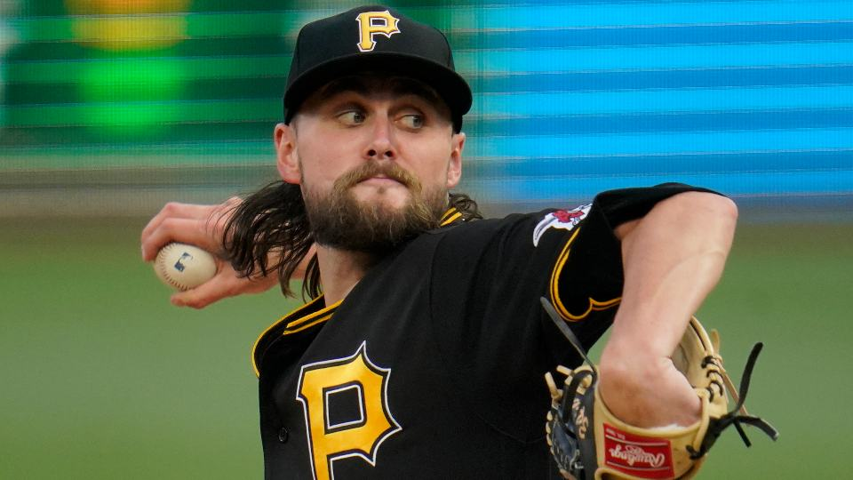 Pittsburgh Pirates starting pitcher JT Brubaker delivers during the first inning of the team's baseball game against the Philadelphia Phillies in Pittsburgh, Saturday, July 31, 2021. (AP Photo/Gene J. Puskar)