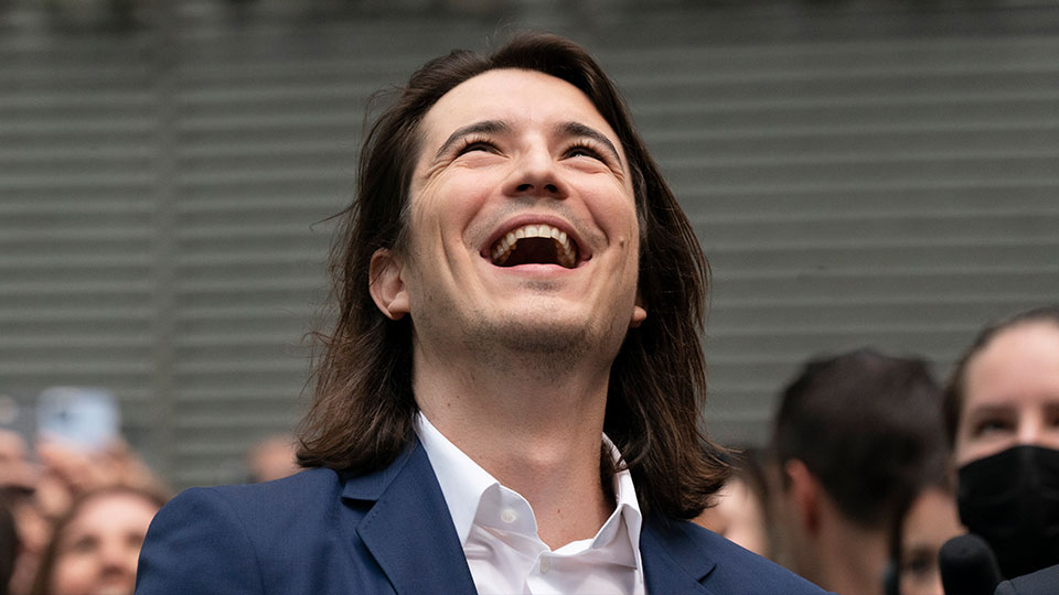 Vladimir Tenev, CEO and Co-Founder of Robinhood, celebrates in New York's Times Square following his company's IPO, Thursday, July 29, 2021