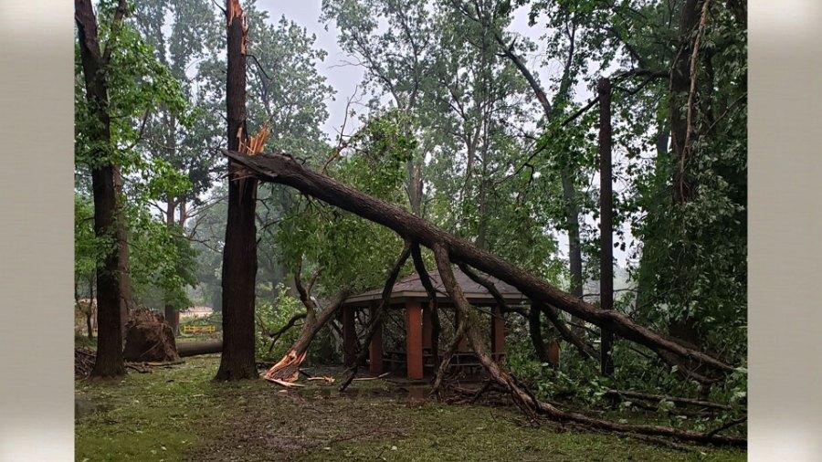 Roosevelt Park in Campbell pavillion damage