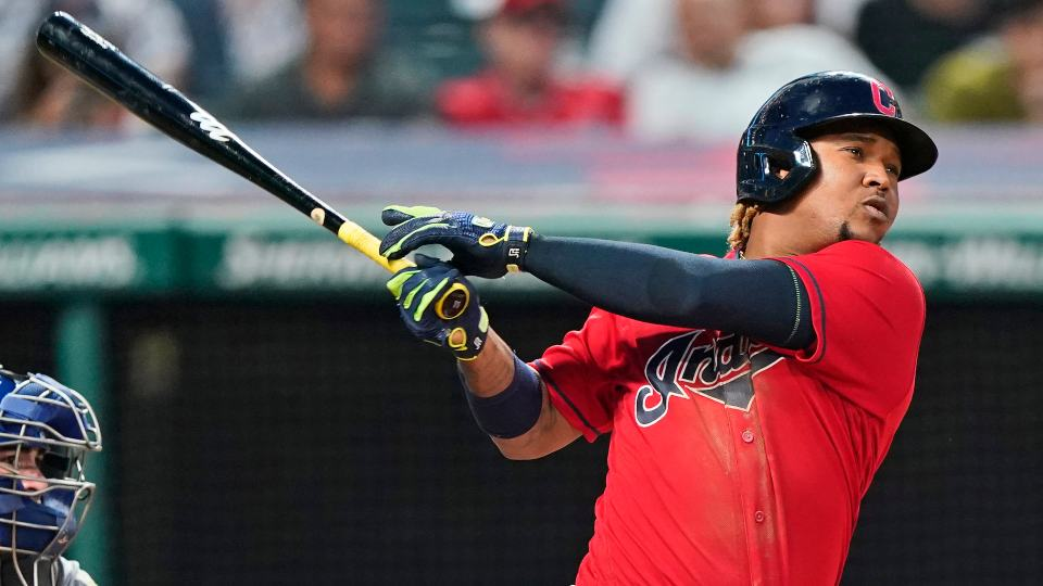 Cleveland Indians' Jose Ramirez watches his solo home run during the eighth inning of the team's baseball game against the Kansas City Royals, Saturday, July 10, 2021, in Cleveland. The Indians won 14-6. (AP Photo/Tony Dejak)